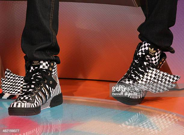 A general view of Jacob Lattimore's shoes during 106 Park at BET Studios on November 19 2013 in New York City