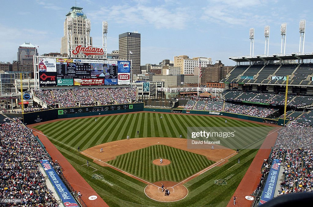 A general view of Jacobs Field during the fifth inning of the game between the Minnesota Twins and the Cleveland Indians on April 17 2005 at Jacobs...