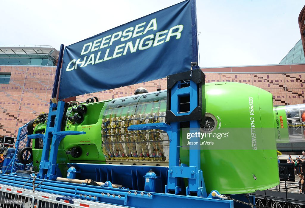 A general view of James Cameron's Deepsea Challenger on display at California Science Center on June 1, 2013 in Los Angeles, California.