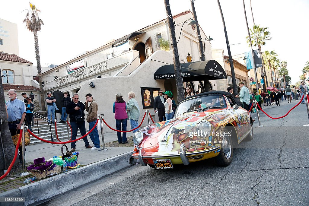 A general view of Janis Joplin's hand-painted, psychedelic, 1965 Porsche 356c Cabriolet on display during the opening night of 'One Night With Janis Joplin' at Pasadena Playhouse on March 17, 2013 in Pasadena, California.
