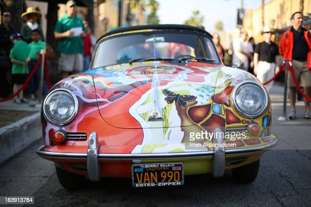 A general view of Janis Joplin's handpainted psychedelic 1965 Porsche 356c Cabriolet on display during the opening night of 'One Night With Janis...