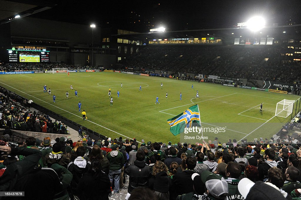 A general view of Jeld-Wen Field during the second half of the game between the Portland Timbers and the Montreal Impact at Jeld-Wen Field on March 09, 2013 in Portland, Oregon. Montreal won the game 2-1.