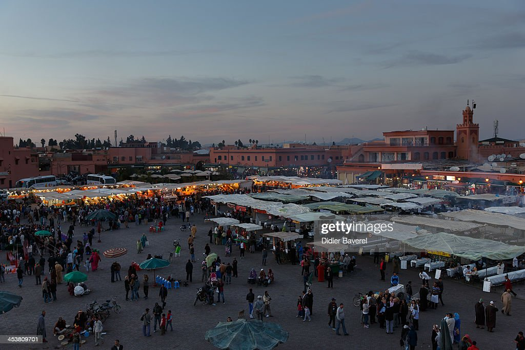 General view of Jemaa El Fna square at 13th Marrakech International Film Festival on December 5, 2013 in Marrakech, Morocco.