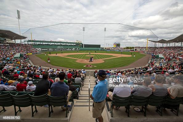 A general view of JetBlue Park during a game between the Minnesota Twins and the Boston Red Sox on March 7 2015 in Fort Myers Florida