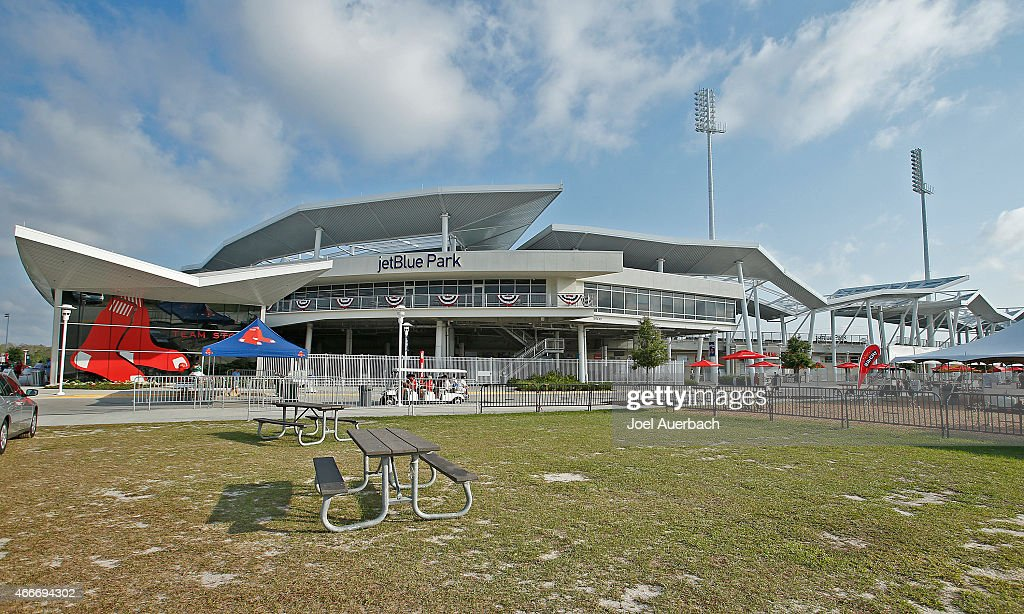 A general view of JetBlue Park prior to the spring training game between the Boston Red Sox and the Minnesota Twins on March 18 2015 in Fort Myers...