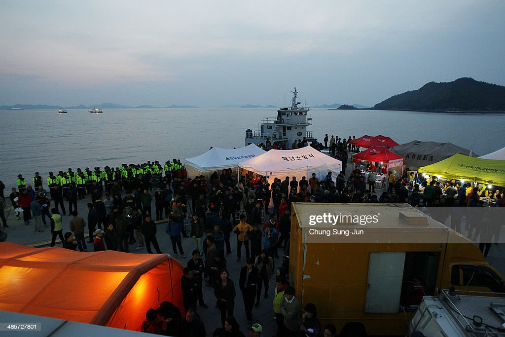 A general view of Jindo port on April 20, 2014 in Jindo-gun, South Korea. At least fifty eight people are reported dead, with 244 still missing. The ferry identified as the Sewol was carrying about 470 passengers, including the students and teachers, traveling to Jeju Island.