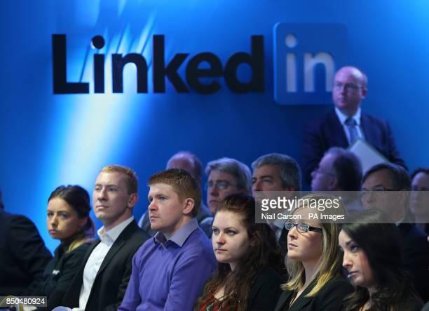 A general view of JobBridge interns below the LinkedIn logo in LinkedIn's offices in Gardner House Wilton Place Dublin