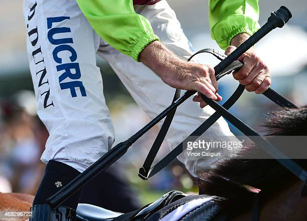 General view of jockey and whip during Melbourne Racing at Flemington Racecourse on April 11 2015 in Melbourne Australia