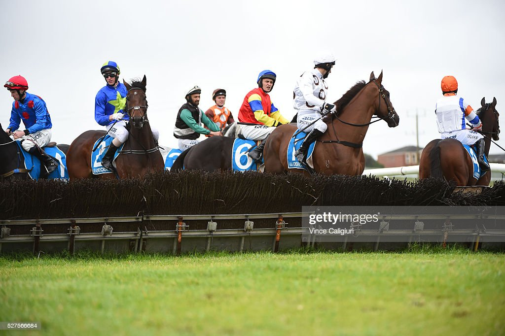 General view of jockeys before Race 3, the George Taylor Memorial Hurdle during Brierly Day at Warrnambool Race Club on May 3, 2016 in Warrnambool, Australia.