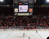 A general view of Joe Louis Arena in overtime as Jason Arnott of the Nashville Predators skates in for his shootout attempt during the NHL game...