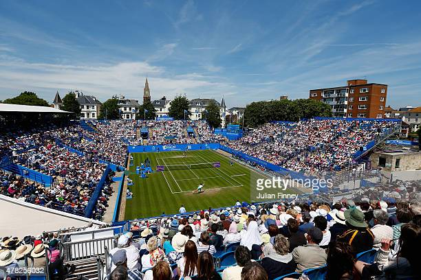 A general view of Johanna Konta of Great Britain in action against Garbine Muguruza of Spain during the Aegon International day four at Devonshire...