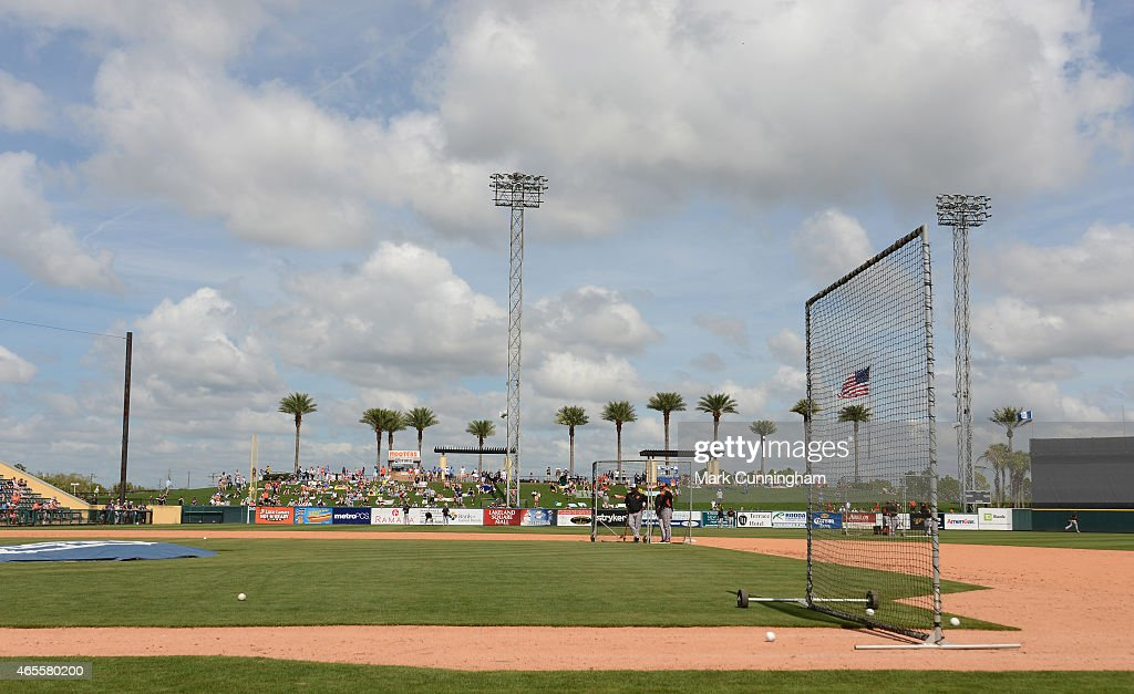 A general view of Joker Marchant Stadium during batting practice prior to the Spring Training game between the Detroit Tigers and the Baltimore Orioles at Joker Marchant Stadium on March 3, 2015 in Lakeland, Florida. The Tigers defeated the Orioles 15-2.