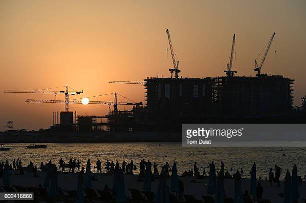 A general view of Jumeirah Beach Residence with cranes in the background on September 11 2016 in Dubai United Arab Emirates Muslims across the world...