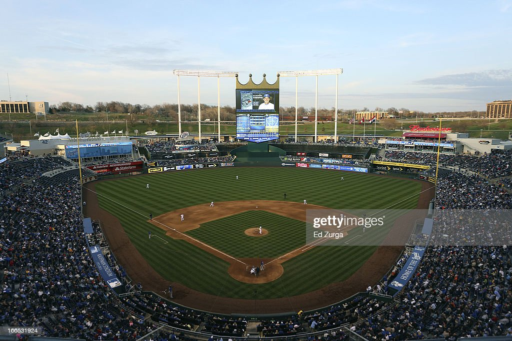 A general view of Kauffman Stadium during a game between the Toronto Blue Jays and Kansas City Royals April 13, 2013 in Kansas City, Missouri.