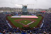 A general view of Kauffman Stadium during the playing of the National Anthem prior to a during opening day game between the Chicago White Sox and...