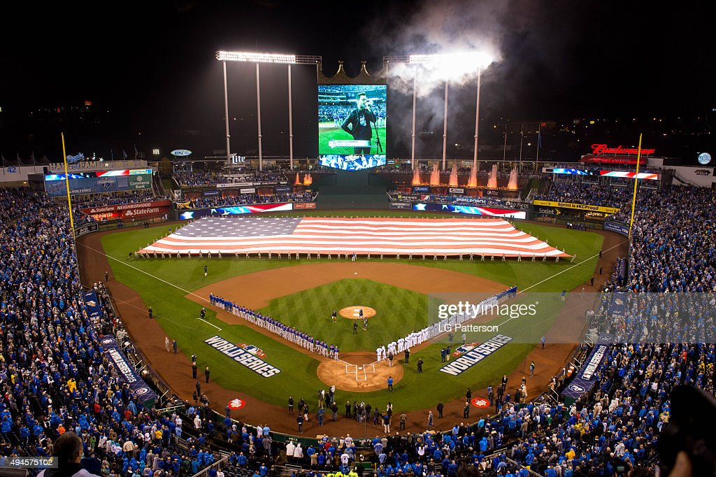 A general view of Kauffman Stadium during the singing of the National Anthem prior to Game 1 of the 2015 World Series between the New York Mets and...