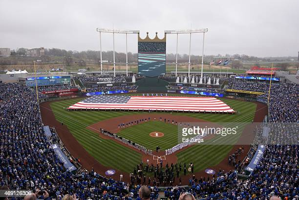 General view of Kauffman Stadium prior to an opening day game against the Chicago White Sox on April 6 2015 at Kauffman Stadium in Kansas City...