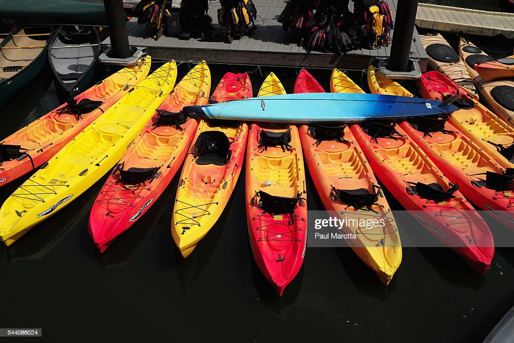 A general view of kayaks available for rent on the Charles River on July 1, 2016 in Boston, Massachusetts.