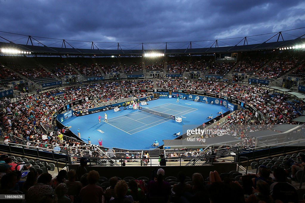 A general view of Ken Rosewall Arena during the men's final match between Bernard Tomic of Australia and Kevin Anderson of South Africa during day seven of the Sydney International at Sydney Olympic Park Tennis Centre on January 12, 2013 in Sydney, Australia.