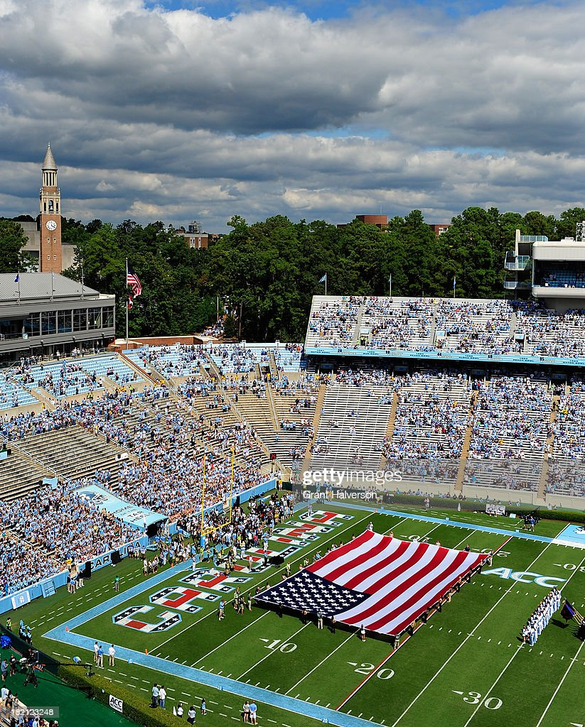 General view of Kenan Stadium during a Military Appreciation Day game between the North Carolina Tar Heels and the East Carolina Pirates on September 28, 2013 in Chapel Hill, North Carolina.