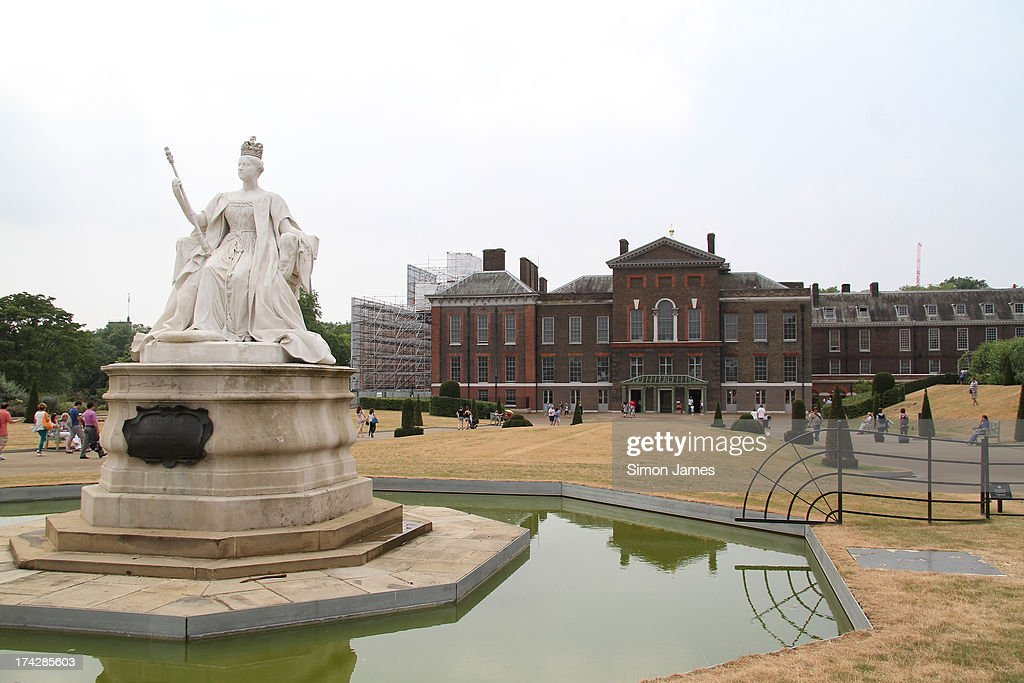 General view of Kensington Palace and gardens home of the Duke and Duchess of Cambridge on July 23 2013 in London England Catherine Duchess of...