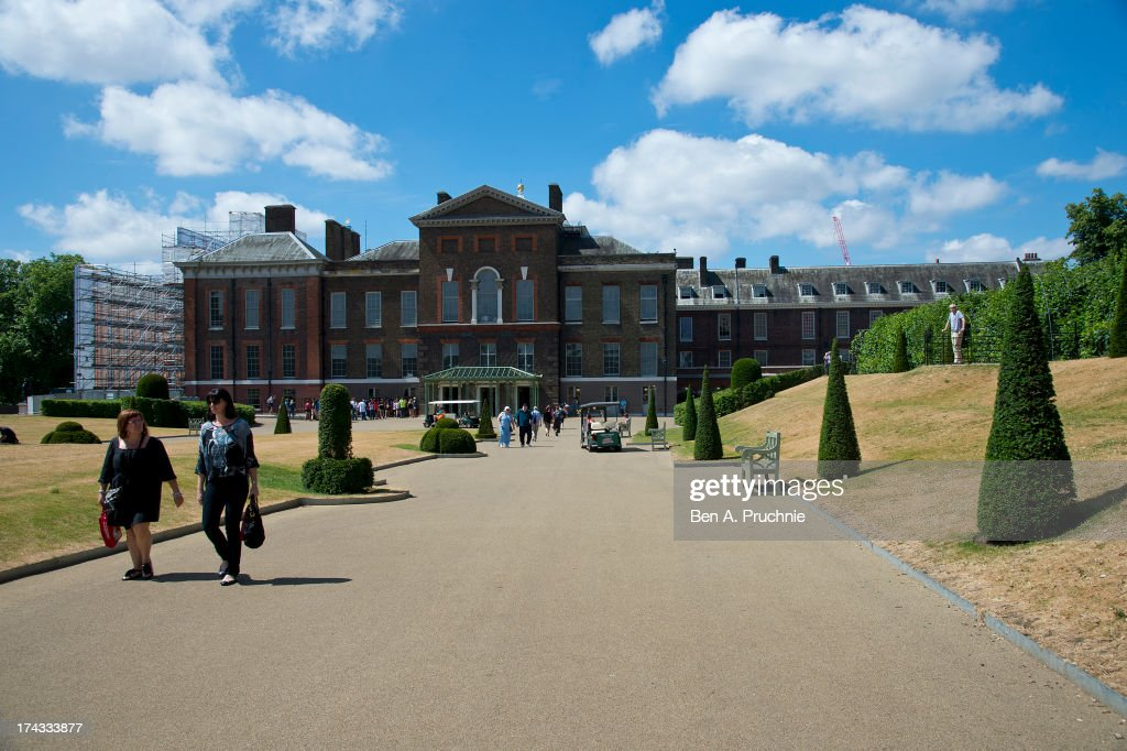 The Media And Public Gather At Kensington Palace Getty