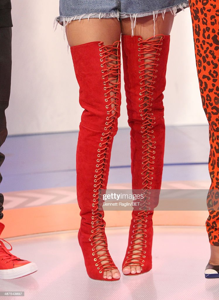 A general view of Keshia Chante's boots during 106 & Park at BET studio on April 30, 2014 in New York City.