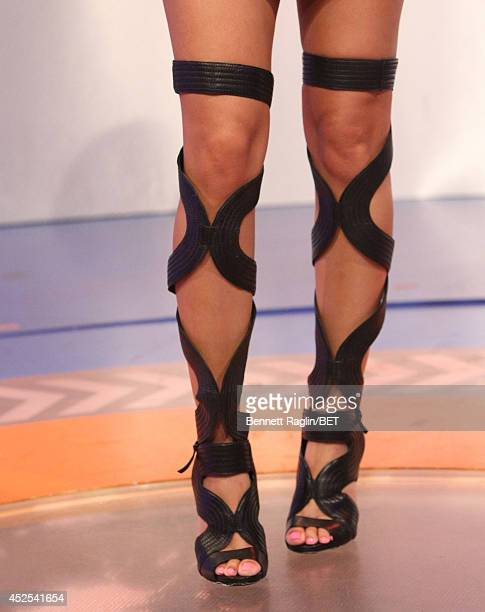 A general view of Keshia Chante's shoes during 106 Park at BET studio on July 22 2014 in New York City