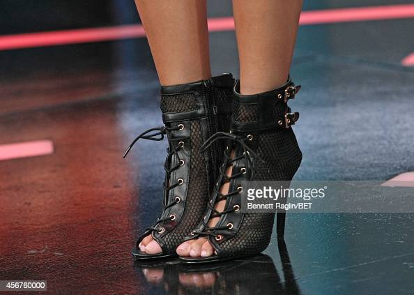 A general view of Keshia Chante's shoes during 106 Park at BET studio on October 6 2014 in New York City