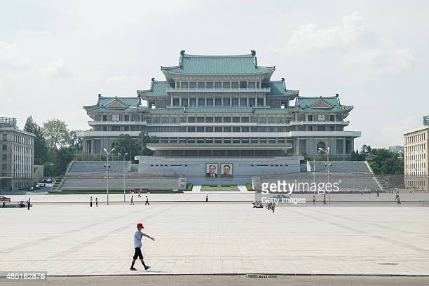 A general view of Kim Il Sung Square and Grand People's Study House in Pyongyang on August 23 2015 in Pyongyang North Korea North and South Korea...