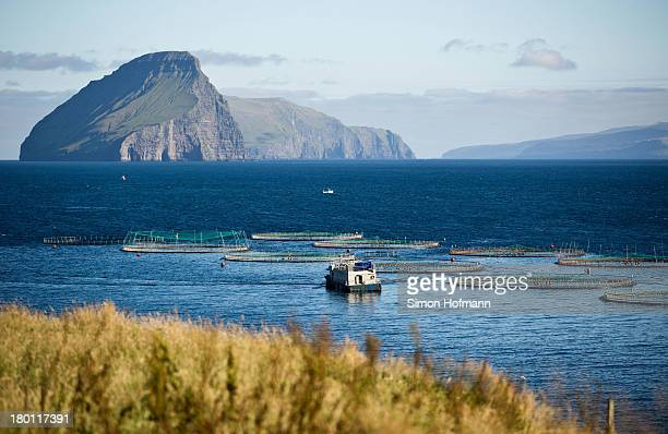 A general view of Koltur island is seen from the harbour basin of Midvagur on September 7 2013 in Midvagur Faroe Islands