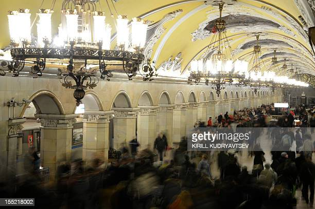 A general view of Komsomolskaya metro station of the Koltsevaya Line in Moscow subway on November 2 2012 The station was opened in 1952 AFP PHOTO /...