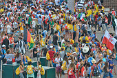 A general view of Krakow main square with pilgrims from all around the world ahead of the official opening Mass and the World Youth Day 2016 in...