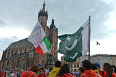 A general view of Krakow main square with pilgrims from from Pakistan and Italy ahead of the official opening Mass and the World Youth Day 2016 in...