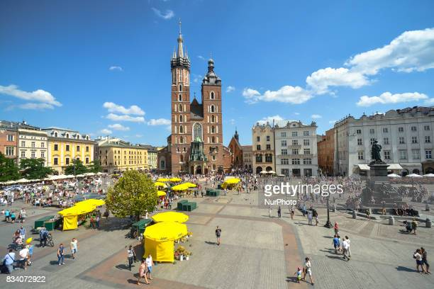 A general view of Krakow's Mariacki Basilica and a part of the Main Square On Thursday August 17 in Krakow Poland