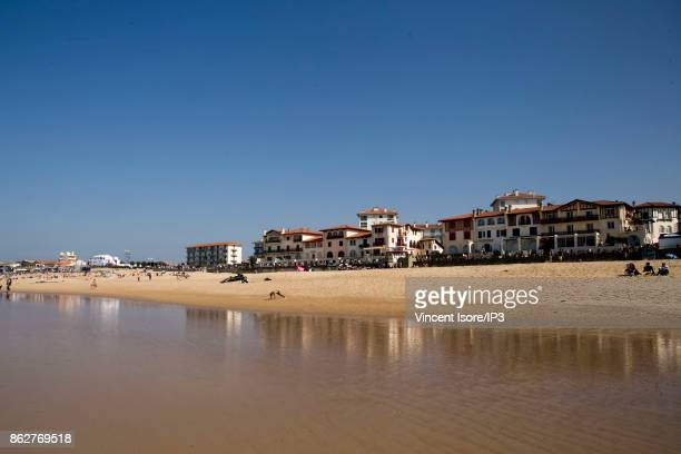A general view of La Graviere beach during the Quicksilver Pro France surf competition on October 12 2017 in Hossegor France he French stage of the...