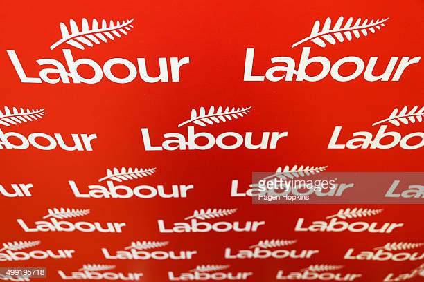 A general view of Labour signage during a press conference to announce a new Shadow Cabinet on November 30 2015 in Wellington New Zealand The new...