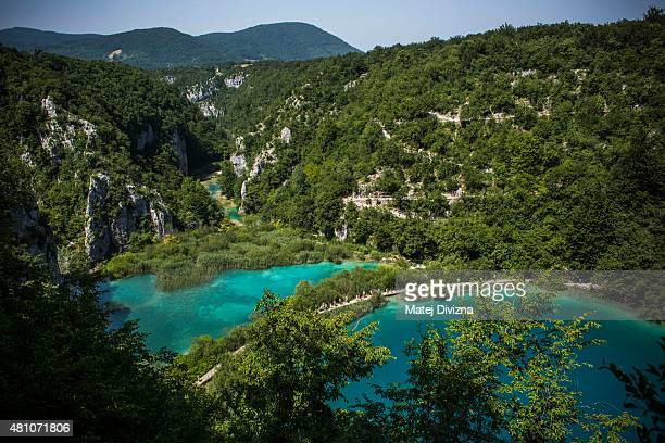A general view of lakes at Plitvice Lakes National Park on July 6 2015 near Plitvicka Jezera Croatia Plitvice Lakes National Park is Croatia's...