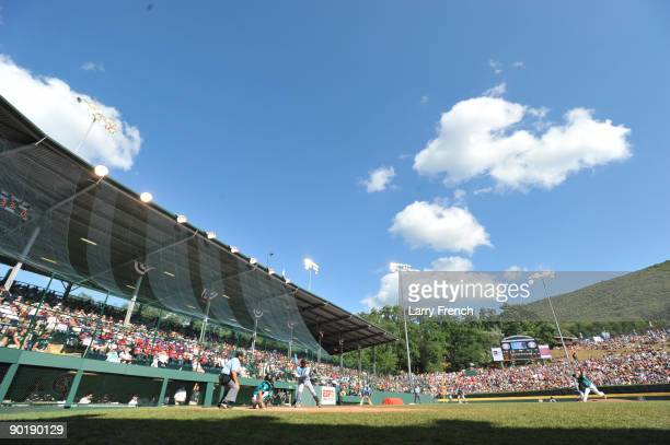 General view of Lamade Stadium during the game between California and Asia Pacific in the little league world series final at Lamade Stadium on...
