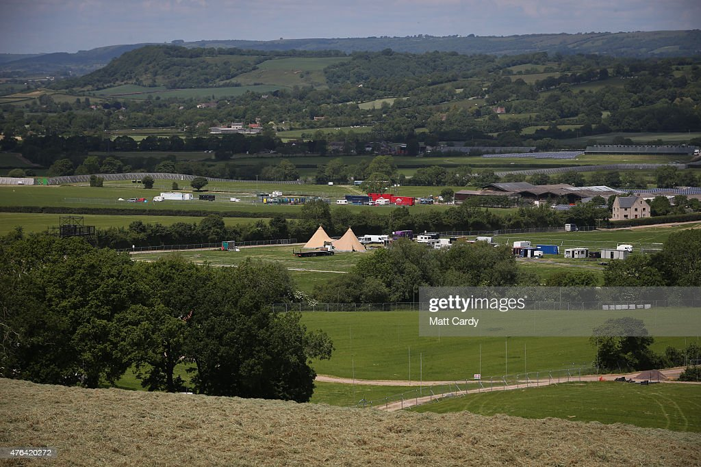 A general view of land around Worthy Farm as the farm prepares for this year's Glastonbury Festival in Pilton near Glastonbury on June 8 2015 in...