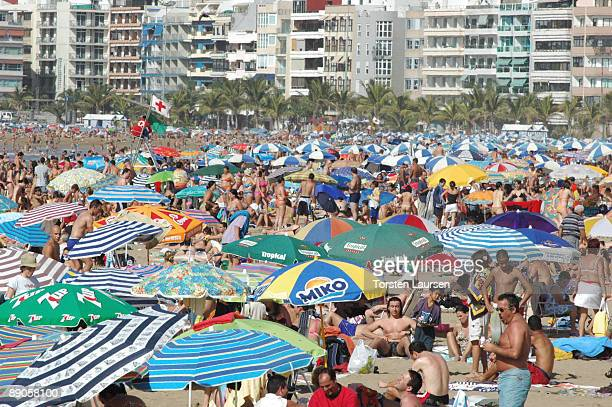 General view of las Canteras beach of Las Palmas on February 01 2009 in Canary Islands Spain