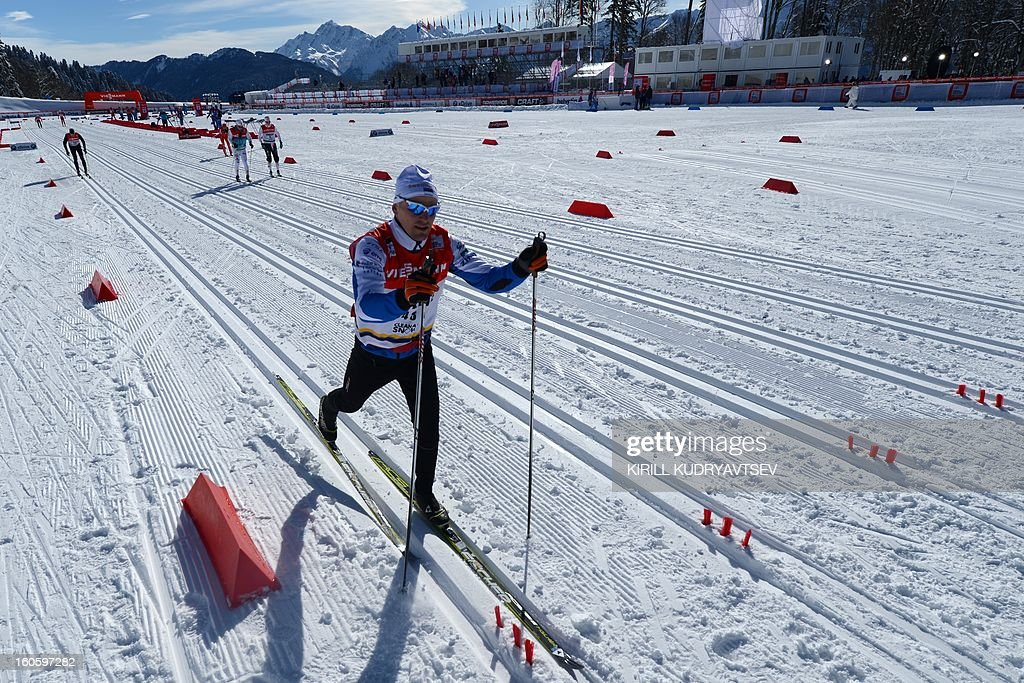 A general view of Laura Cross Country and Biathlon Center during FIS Cross Country skiing World Cup at in Russian Black Sea resort of Sochi on February 3, 2013.