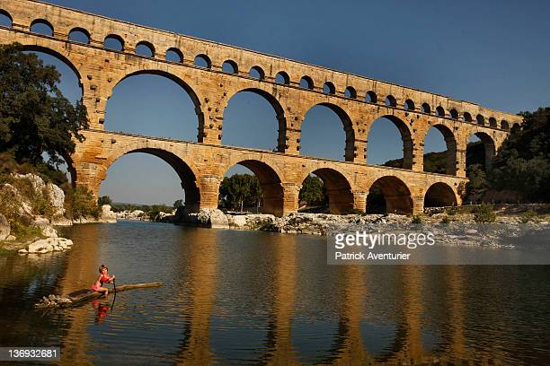 General view of Le Pont Du Gard during the day on August 18 2011 in Nimes France At night the PontDuGard is transformed with a light show created by...
