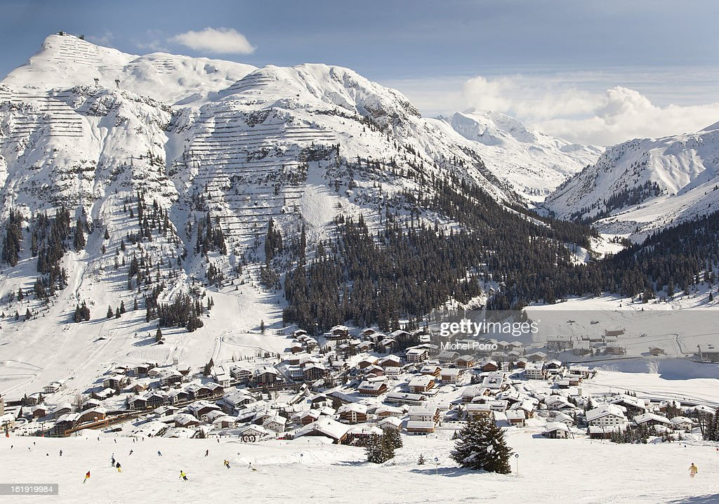 . General view of Lech, the usual holiday resort of Queen Beatrix of The Netherlands and members of the Dutch royal family, on February 17, 2013 in Lech, Austria. In the middle lies the Parish Church of St Nicholas where a service of prayers was held today, marking the first anniversary of the ski-ing accident that left Prince Friso of The Netherlands critically injured. Prince Friso of Orange-Nassau (44) second son of Queen Beatrix of The Netherlands, was hit by an avalanche while ski-ing off-piste in the resort of Lech, under which he remained buried for 20 minutes. He suffered brain damage due to shortage of oxygen and has remained in a coma since the accident.