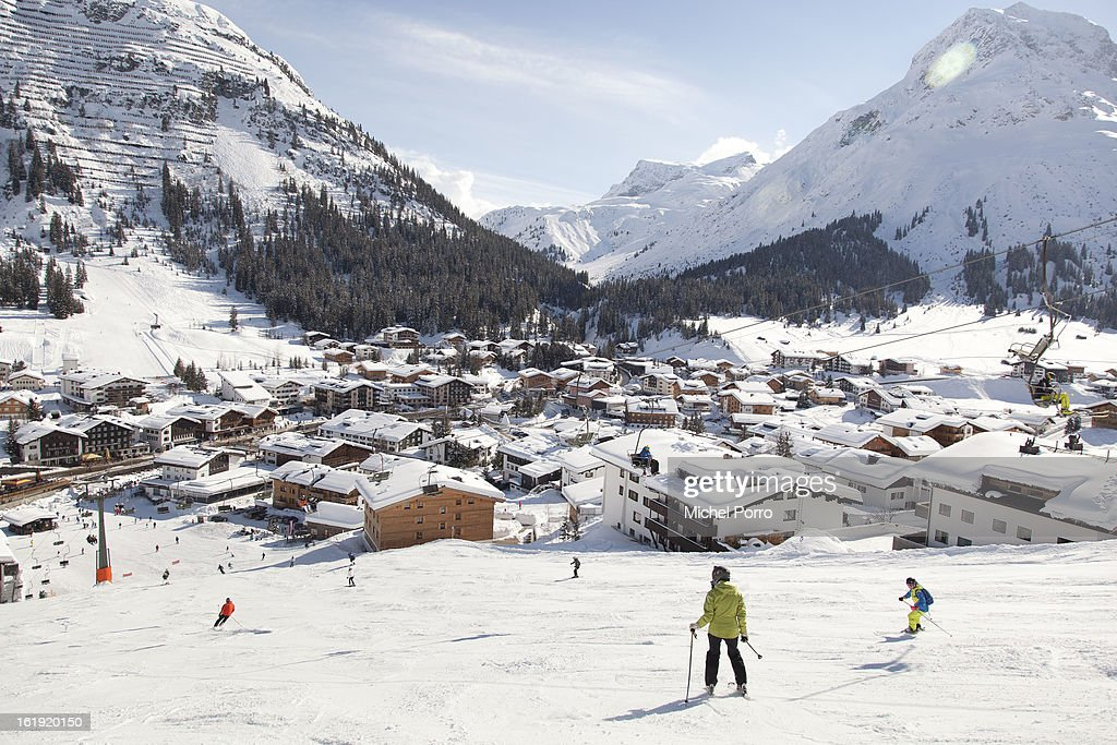 . General view of Lech, the usual holiday resort of Queen Beatrix of The Netherlands and members of the Dutch royal family, on February 17, 2013 in Lech, Austria. In the middle lies the Parish Church of St Nicholas where a service of prayers was held today, marking the first anniversary of the ski-ing accident that left Prince Friso of The Netherlands critically injured. Prince Friso of Orange-Nassau (44) second son of Queen Beatrix of The Netherlands, was hit by an avalanche while ski-ing off-piste in the resort of Lech, under which he remained buried for 20 minutes. He suffered brain damage due to shortage of oxygen and has remained in a coma since the accident. on February 17, 2013 in Lech, Austria.