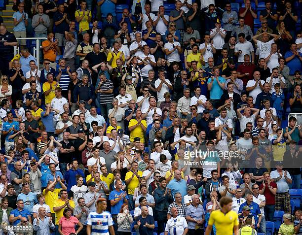 A general view of Leeds United fans during the Sky Bet Championship match between Reading and Leeds United at Madejski Stadium on August 16 2015 in...
