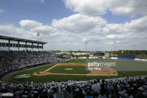 General view of Legends Field during the preseason game between the New York Yankees and the Pittsburgh Pirates on March 11 2004 in Tampa Florida The...