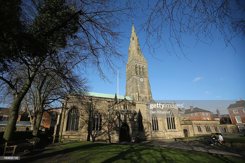 A general view of Leicester Catherdral, close to where the body of Richard III was discovered, on February 4, 2013 in Leicester, England. The University of Leicester has been carrying out scientific investigations on remains found in a car park to find out whether they are those of King Richard III since last September, when the skeleton was discovered in the foundations of Greyfriars Church, Leicester. King's Richard III's remains are to be interred at Leicester Catherdral.