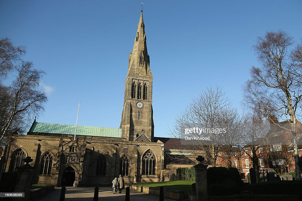 A general view of Leicester Catherdral, close to where the body of Richard III was discovered, on February 4, 2013 in Leicester, England. The University of Leicester has been carrying out scientific investigations on remains found in a car park to find out whether they are those of King Richard III since last September, when the skeleton was discovered in the foundations of Greyfriars Church, Leicester. King's Richard III's remains are to be re-intered at Leicester Catherdral.