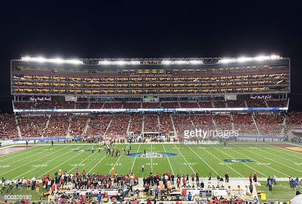 A general view of Levi's Stadium and the suite tower during the Pac12 Championship Game between the Stanford Cardinal and the USC Trojans on December...